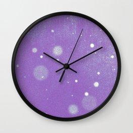 Vintage snow and purple sky Wall Clock