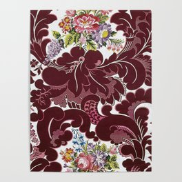 William Morris Textile Red Poppy, Calla Lily, Lilacs, & Dahlia Blossom tapestry  Poster