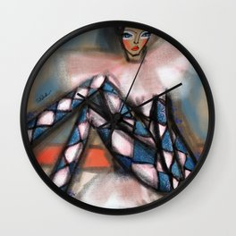 girl in jumpsuit Wall Clock