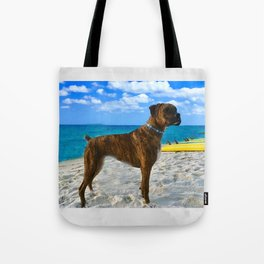 BOXER DOG SURFER BEACH BUM AND FRIEND Tote Bag