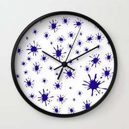 blue spots on white background Wall Clock