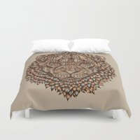 royal Duvet Covers featuring Lion (Royal) 2.0 by Norman Duenas