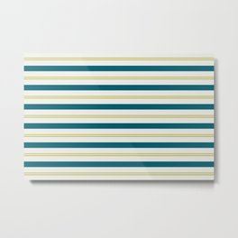 Off White, Dark Yellow and Tropical Dark Teal Inspired by Sherwin Williams 2020 Trending Color Oceanside SW6496 Stripes Thick and Thin Horizontal Line Pattern 3 Metal Print