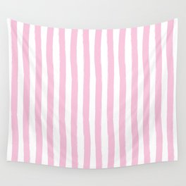Pink and White Cabana Stripes Palm Beach Preppy Wall Tapestry
