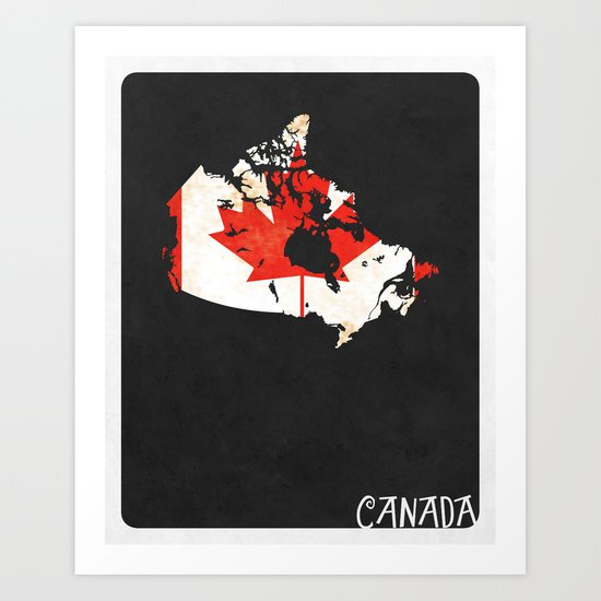 Canada Minimalist Vintage Map with Flag Art Print