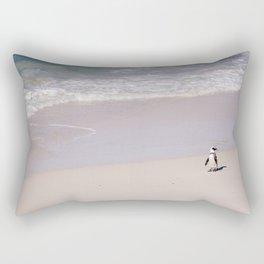 Lone African Penguin on Cape Town beach Rectangular Pillow