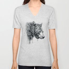 Bear Head Black and White Unisex V-Neck