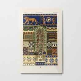 Assyrian pattern from Lornement Polychrome (1888) by Albert Racinet (1825-1893) Metal Print