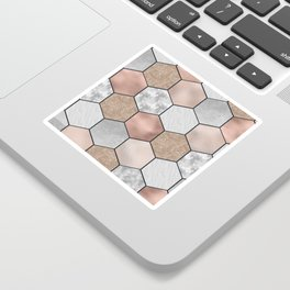 Marble hexagons and rose gold on black Sticker
