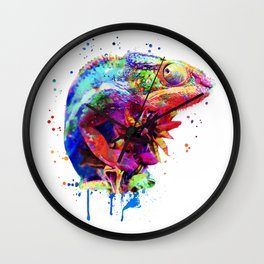 Panther Chameleon Watercolor Wall Clock