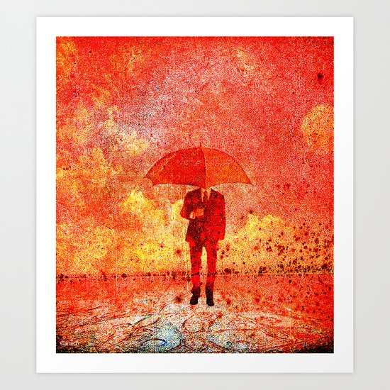 The man in the umbrella Art Print