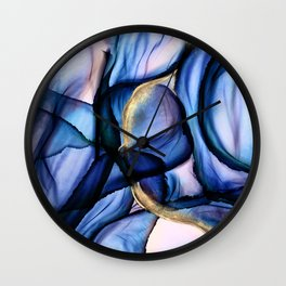 Mesmerize - Indigo, Cerulean, and Pale Pink Abstract Wall Clock