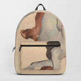 Crouching Nude in Shoes and Black Stockings, Back View - Egon Schiele Backpack