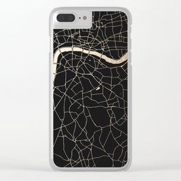 London Black on Gold Street Map II Clear iPhone Case