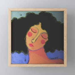 Woman with Frizzy Hair Abstract Digital Painting  Framed Mini Art Print