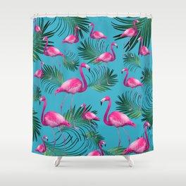 Summer Flamingo Palm Vibes #2 #tropical #decor #art #society6 Shower Curtain