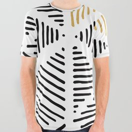 Simple Geometric Zig Zag Pattern - Black Gold White - Mix & Match with Simplicity of life All Over Graphic Tee