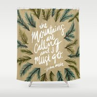 the mountains are calling Shower Curtains featuring Mountains Calling – Kraft by Cat Coquillette