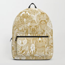canadian animals gold white Backpack