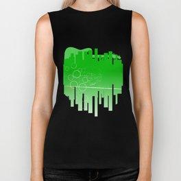 Abstract Green Guitar City Biker Tank