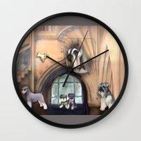 schnauzer Wall Clocks featuring Schnauzer by Michelle Behar