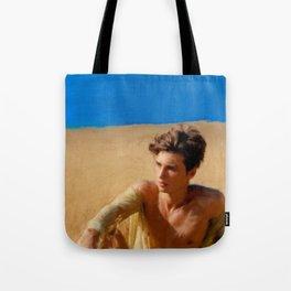 Boy in Golden Field Tote Bag