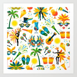 Colorful Brazilian Beach Tropical Carnaval Art Print