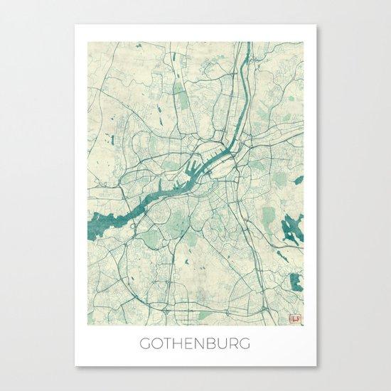 Gothenburg Map Blue Vintage Canvas Print