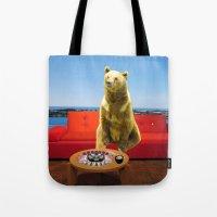 bleach Tote Bags featuring Bleach Blonde Bear by Bemular