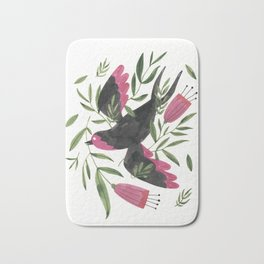 Swallow with Flowers Bath Mat