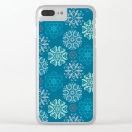 Sea Blue Flowers Clear iPhone Case
