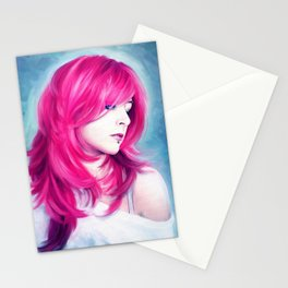 ' Pink Head ' - sensual lady digital oil portrait painting Stationery Cards