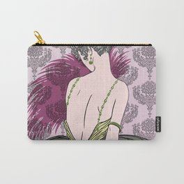 Art Deco Lady with Damask - BIANCA: Tea Time Carry-All Pouch