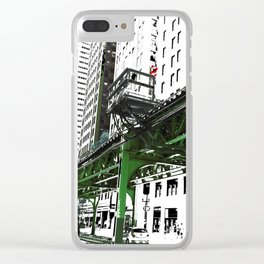Chicago photography - Chicago EL art print in green black and white Clear iPhone Case