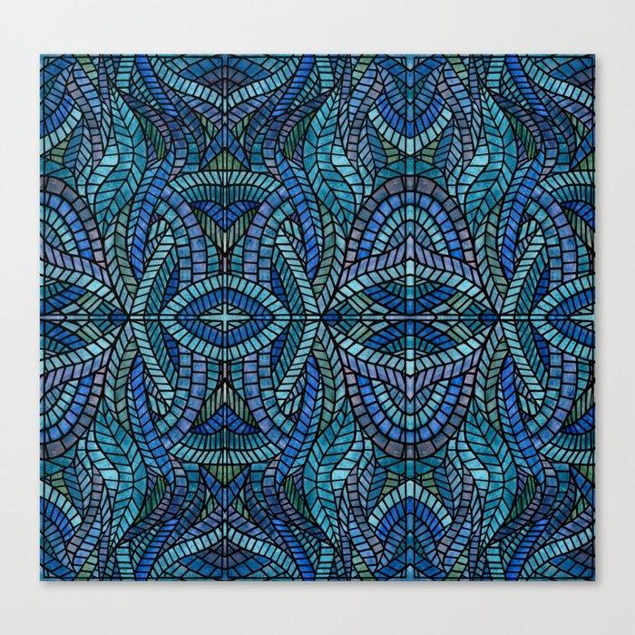 Blue Geometric Mosaic Canvas Print