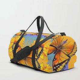 ORANGE-BLUE   BUTTERFLIES & YELLOW SUNFLOWERS Duffle Bag