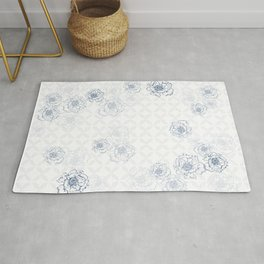 Blue and White Floral Decor Rug
