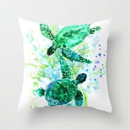 Sea Turtles Underwater Scene Turquoise Blue design, bright blue green design Throw Pillow