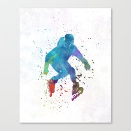 Man roller skater inline in watercolor Canvas Print