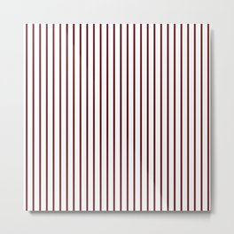 Royal Rose Red Pinstripe on White Metal Print