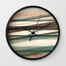 Semi Transparent Layers In Peach Brown And Green Wall Clock