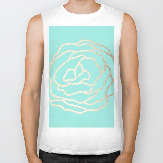 Flower in White Gold Sands on Tropical Sea Blue Biker Tank