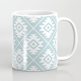Aztec Symbol Ptn White on Duck Egg Blue Coffee Mug
