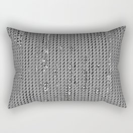 Wash out faux burlap-Gray Rectangular Pillow