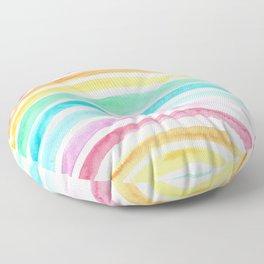 Pastel Watercolour Rainbow art Floor Pillow