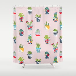 Funny cacti illustration Shower Curtain