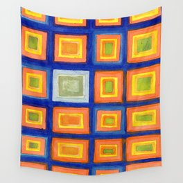 Square Pattern Beaming with Luminous Color Wall Tapestry