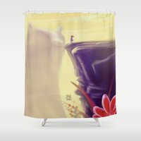 beauty and the beast Shower Curtains featuring Beauty and the Beast by Josè Sala