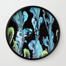Blue Iris Flowers Wall Clock