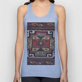 Cowboy Sumakh // 19th Century Colorful Red White Blue Western Lone Star Dallas Ornate Accent Pattern Unisex Tank Top